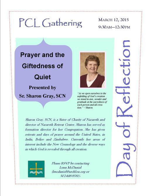 flyer- Sr. Sharon Gray, Day of Reflection