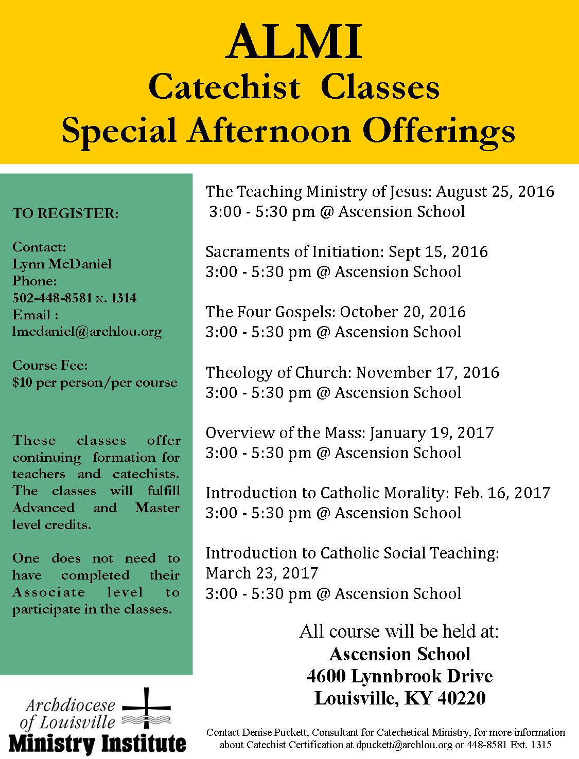Afternoon Classes At Ascension Formed In Faith