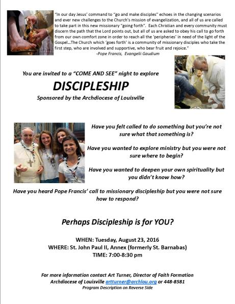 Discipleship Come and See Flyer- St JPII 2016
