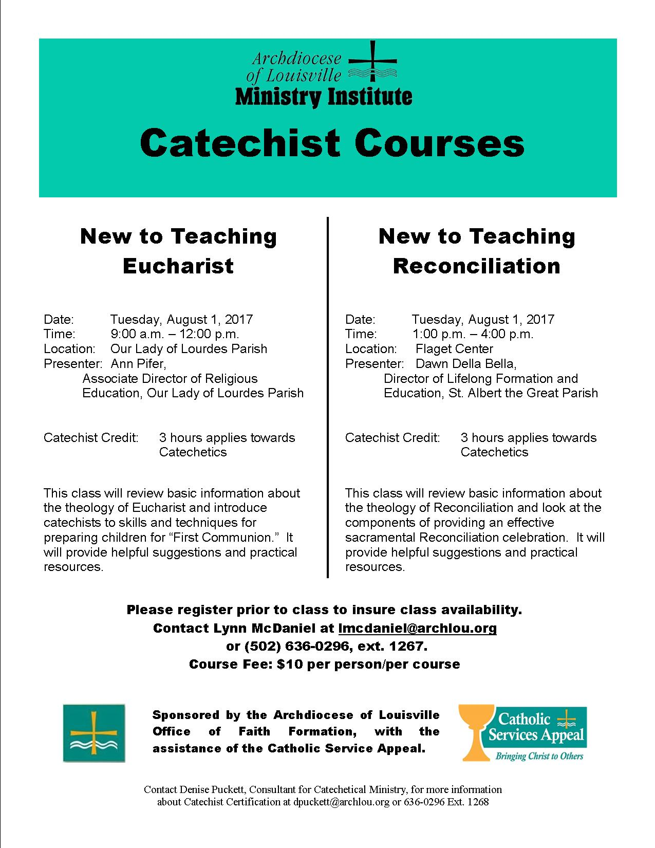 Upcoming Catechist Classes Formed In Faith