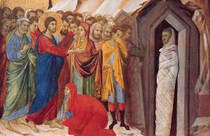 """""""The Raising of Lazarus,"""" by Duccio di Buoninsegna, 1310–11"""